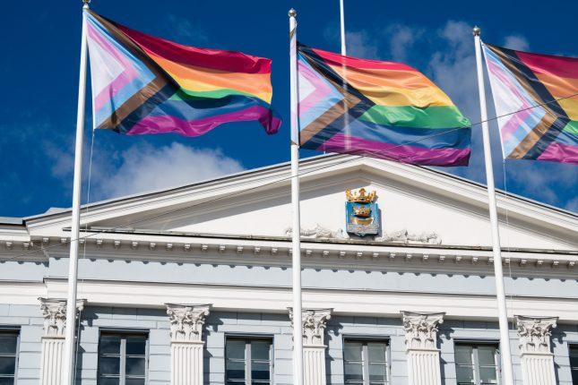 """Progress"" pride flags flying outside Helsinki city hall."